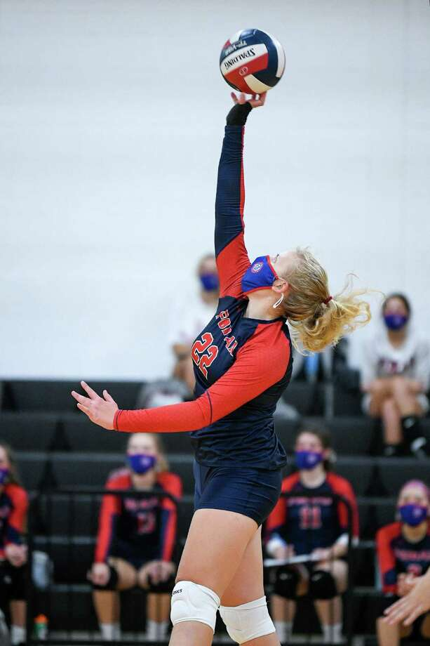 Tori Lanese had 15 kills to help Foran defeat Lauralton Hall in the SCC playoffs. Photo: David G. Whitham / For Hearst Connecticut Media / Milford Mirror