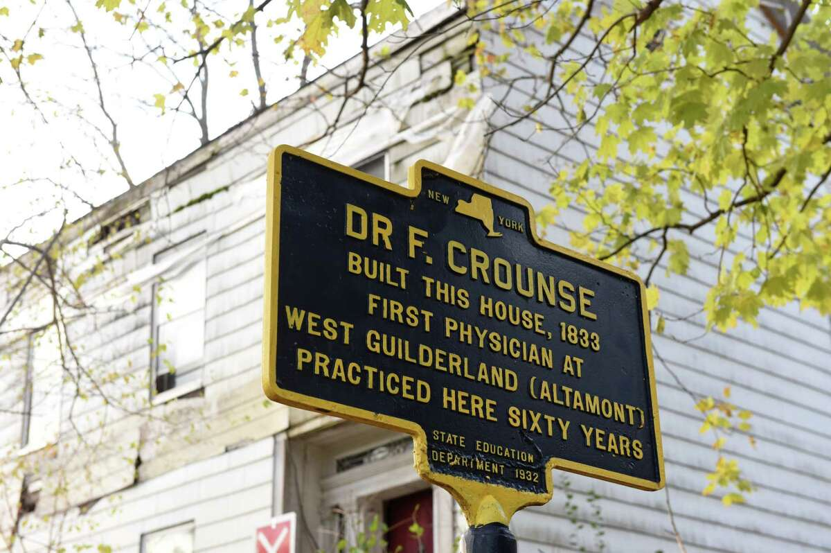 Historic marker outside the Dr. F. Crounse House on Thursday, Nov. 5, 2020, in Altamont, N.Y. The historic property on Route 146 is slated for demolition. (Will Waldron/Times Union)