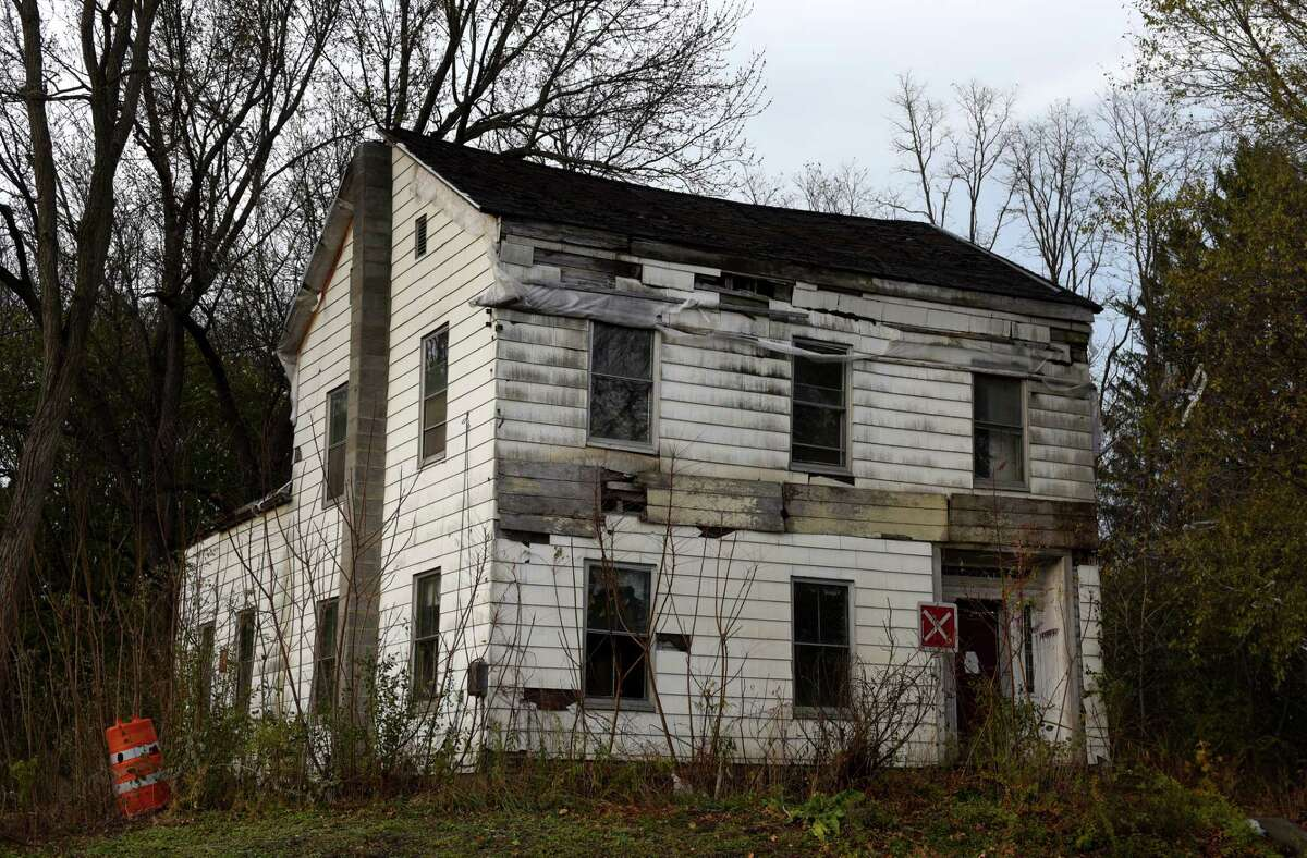 The former Dr. F. Crounse House on Thursday, Nov. 5, 2020, at Route 146 and Gun Club Road in Altamont, N.Y. The historic property on Route 146 is slated for demolition. (Will Waldron/Times Union)