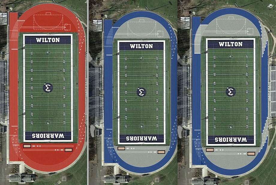 Colors proposed for a new stadium track at Wilton High School from left, are red, blue, and blue with grey exchange lines. The Wilton Board of Selectmen is proposing up to $1.225 million in bonding for the new track. The project is being sent to the Board of Finance for approval. Photo: Town Of Wilton