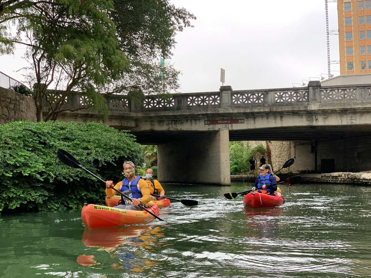San Antonio Mayor Ron Nirenberg was one of thousands who took advantage of the rare chance to kayak the River Walk.
