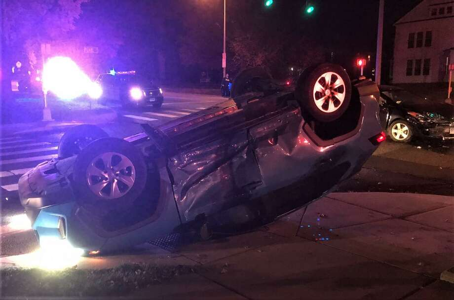 A two-car collision at Washington and Pearl streets in Middletown sent one person to the hospital with minor injuries on the evening of Nov. 9. Photo: Contributed Photo / Bruce Driska
