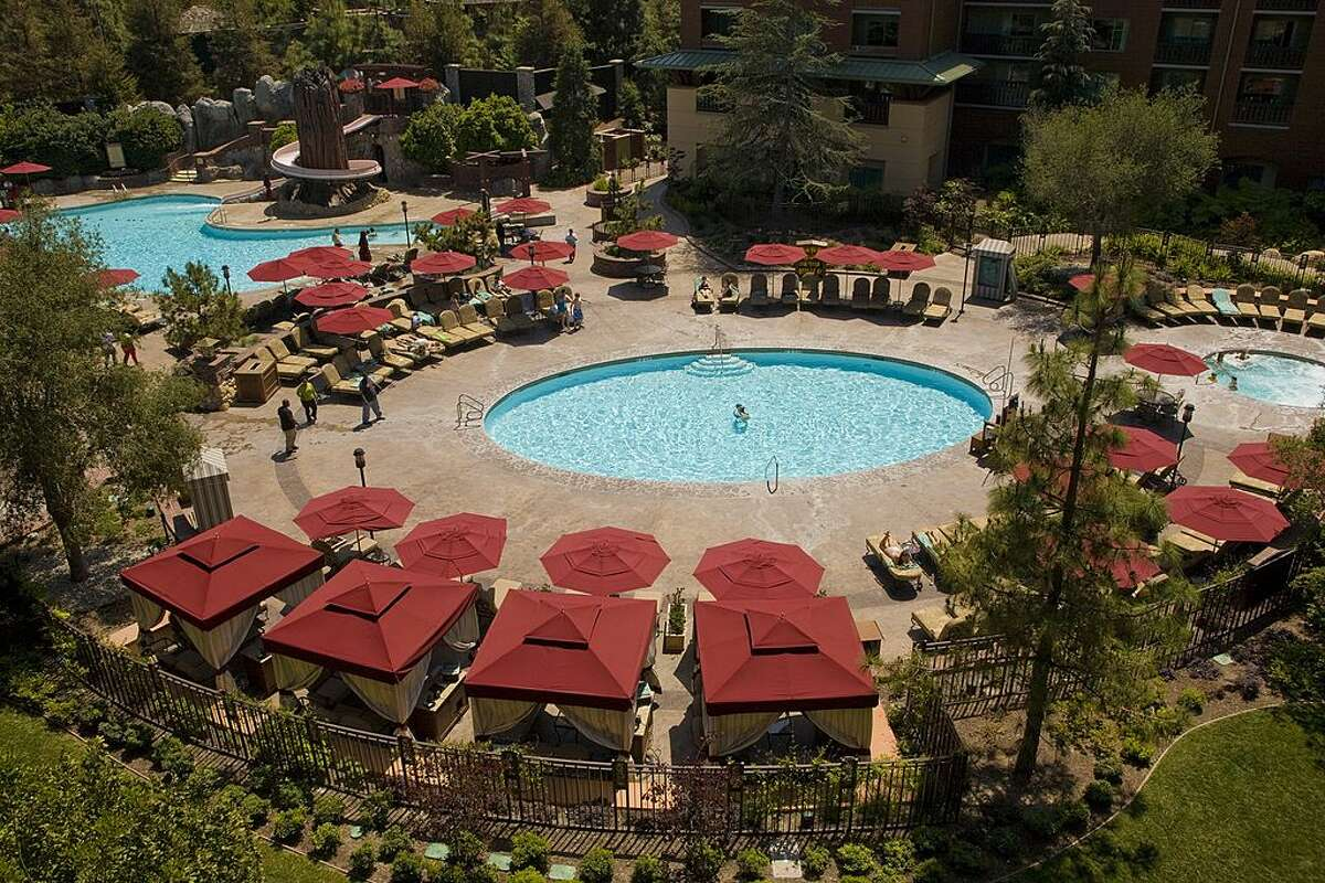 The pool area at the Grand Californian Hotel & Spa leads directly out into Disney's California Adventure park.