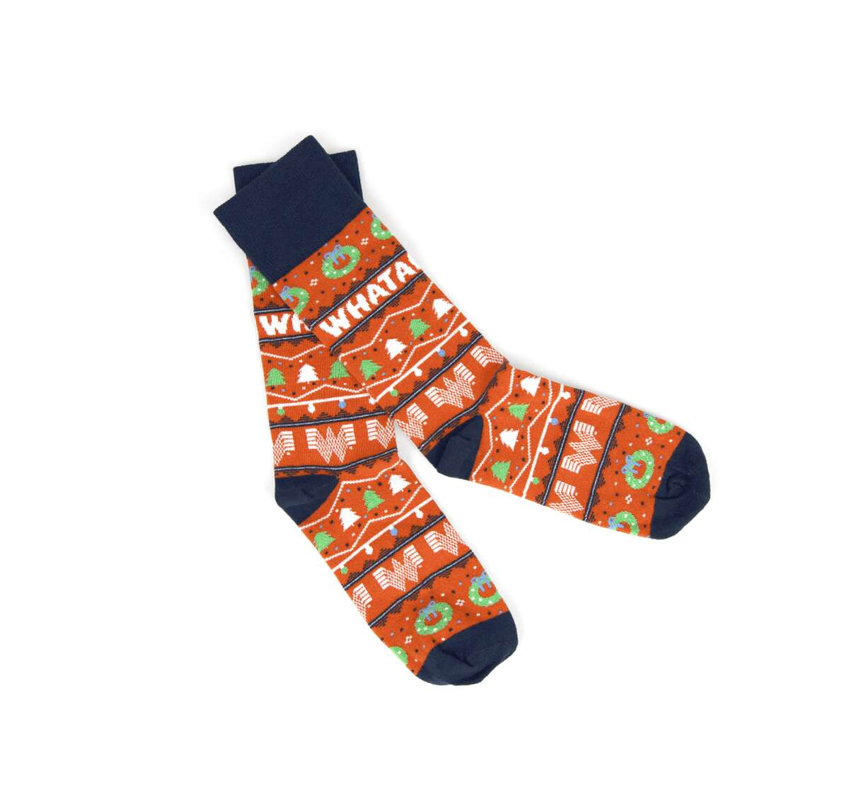 Keep your feet as toasty as a honey butter chicken biscuit in Whataburger holiday socks.