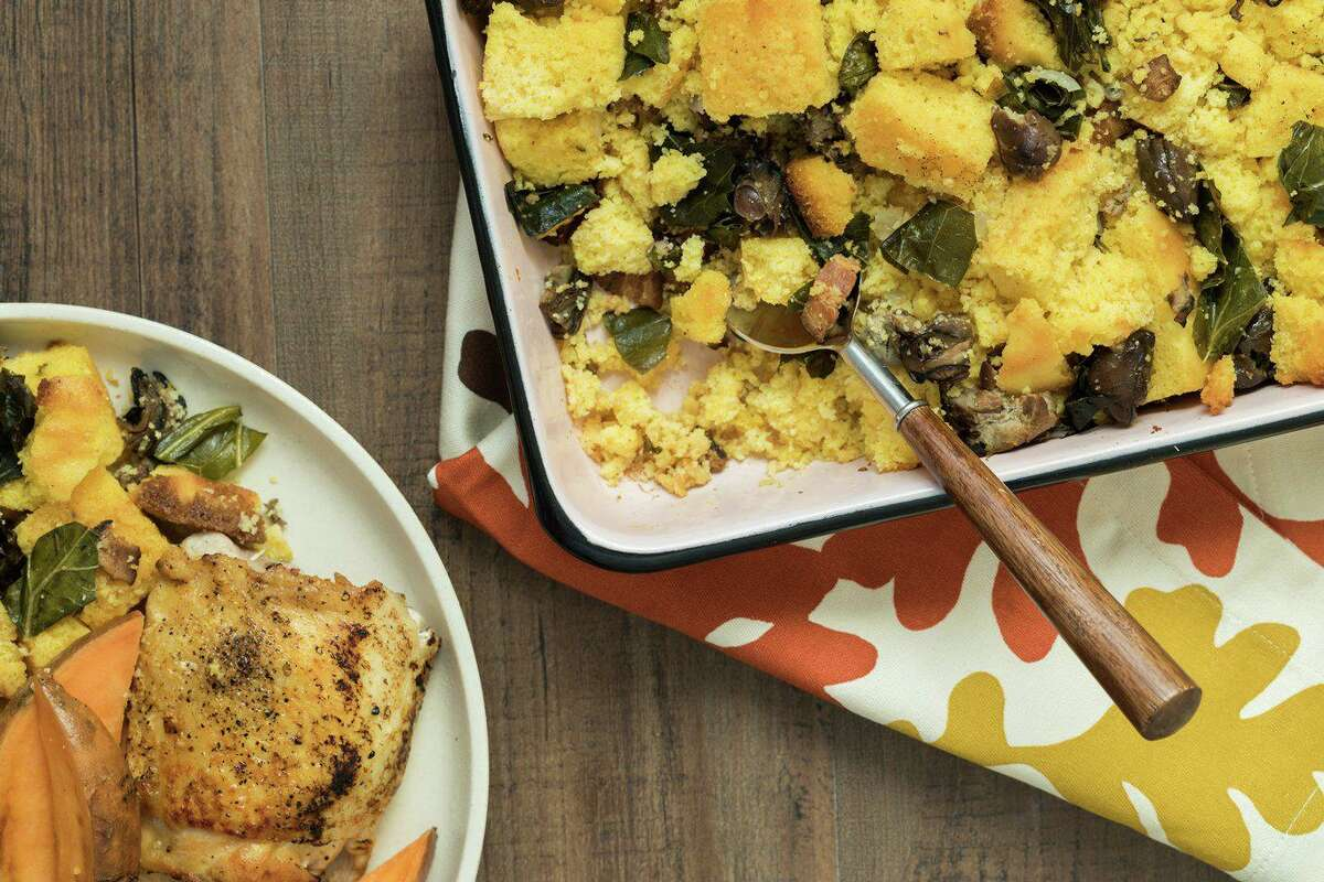 Cornbread Stuffing with Smoked Oysters