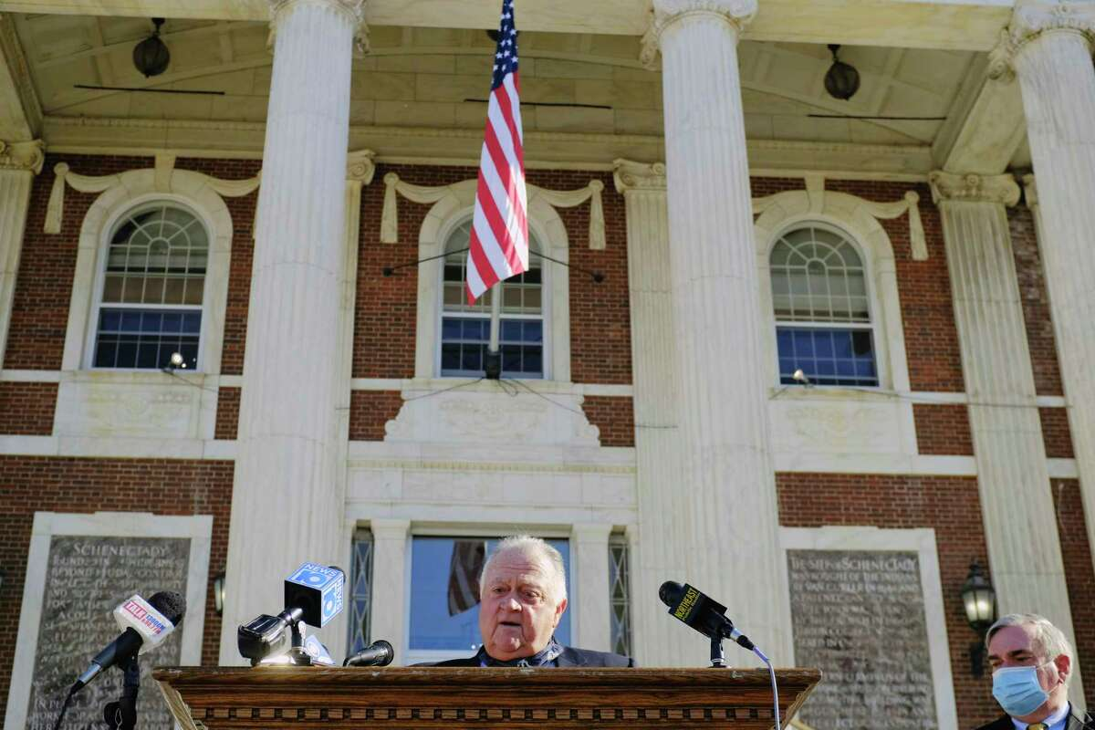 Retiring state Supreme Court Justice Eugene Devine speaks at a press conference Tuesday where he was introduced Schenectady's new public safety commissioner. Devine will begin his new role on Dec. 1, replacing the current commissioner, Michael Eidens, who is retiring. (Paul Buckowski/Times Union)