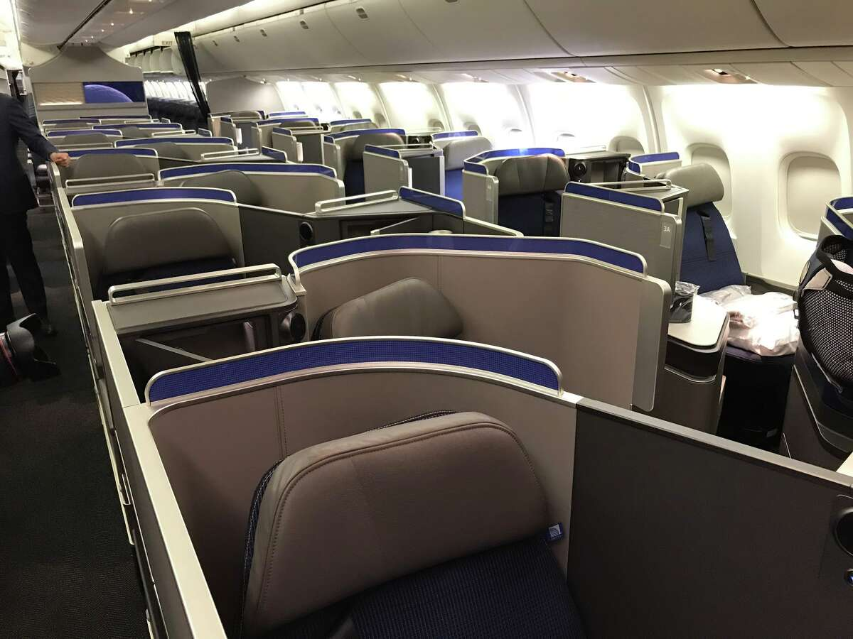 Business class on a United Boeing 767-300ER is configured 1-1-1-- all lie-flat seats have aisle access.