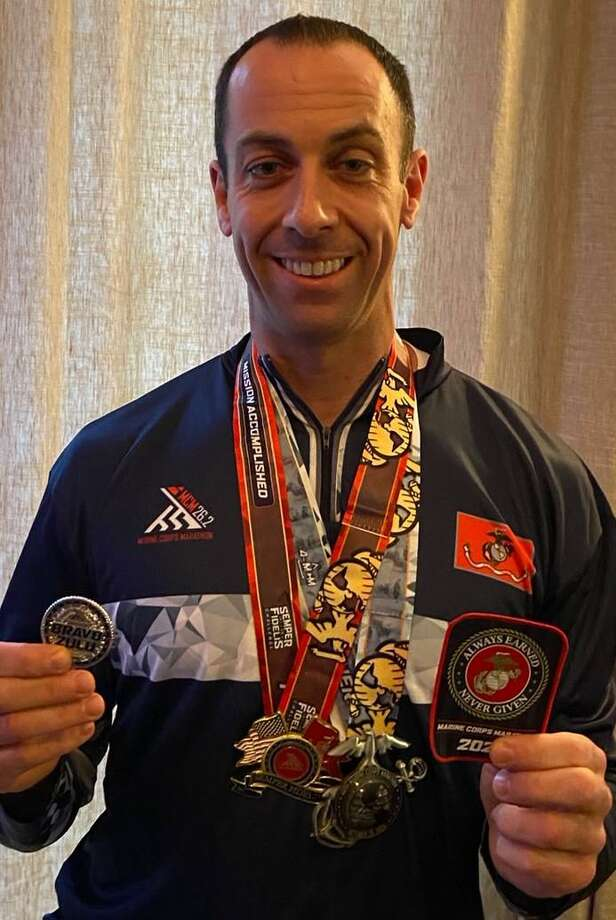 Robert Kozlowsky, longtime Shelton resident and police lieutenant, ran three marathons in three weeks as part of the virtual Marine Corps Marathon this past month. Photo: Robert Kozlowsky / Contributed Photo / Connecticut Post
