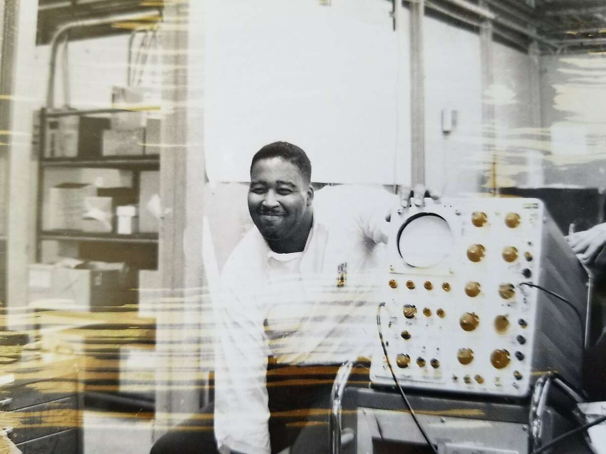 Jerry Lawson, photographed with an oscilloscope, in the 1960s.