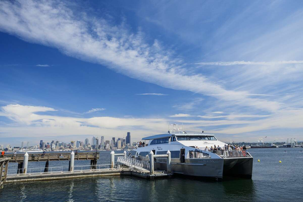 The King County water taxi docked at Seacrest Park in West Seattle, bound for downtown Seattle.