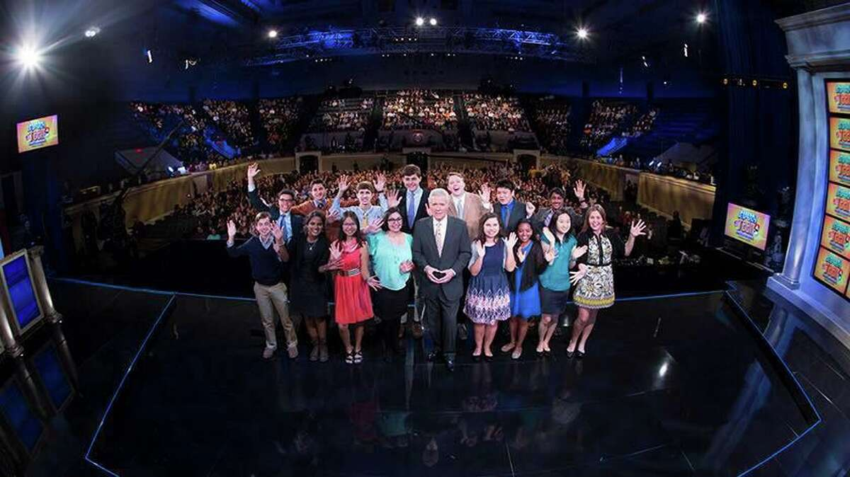 Darien's Michael Borecki and Porter Bowman were contestants on Jeopardy's teen tournament, pictured here with the rest of the teens that participated, in 2016 when they were juniors in high school. They reflected on the passing of Alex Trebek Sunday.