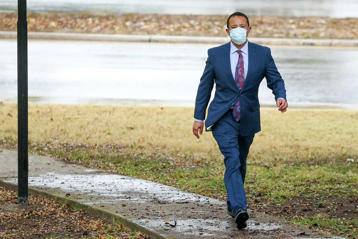 San Antonio oilman Brian Alfaro arrives for sentencing at the John H. Wood Jr. Federal Courthouse on Tuesday, Nov. 10, 2020. Alfaro was found guilty in February on seven counts of mail fraud for misusing investor money to support his extravagant lifestyle.