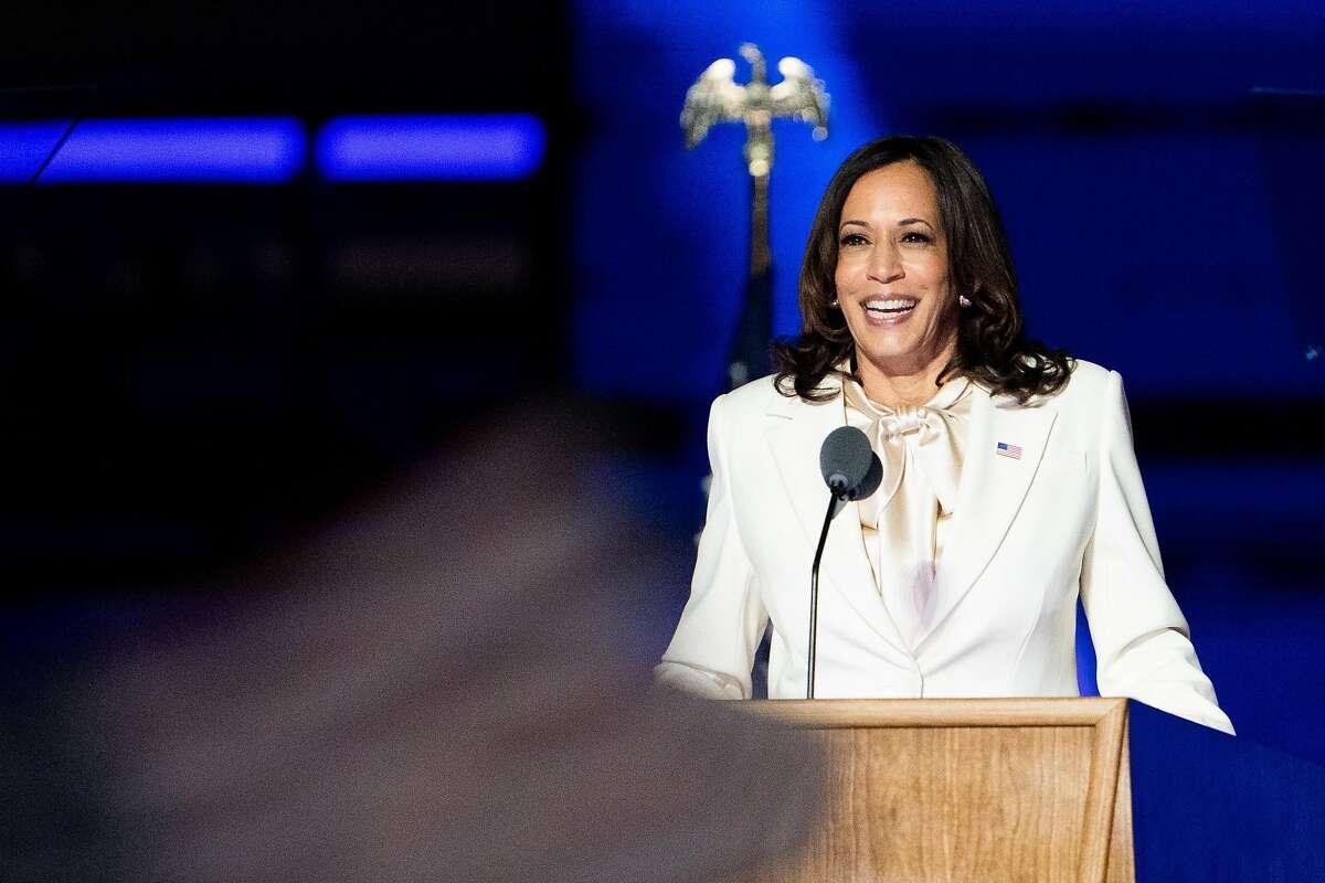 Vice President-elect Kamala Harris speaks in Wilmington, Del., on Saturday.