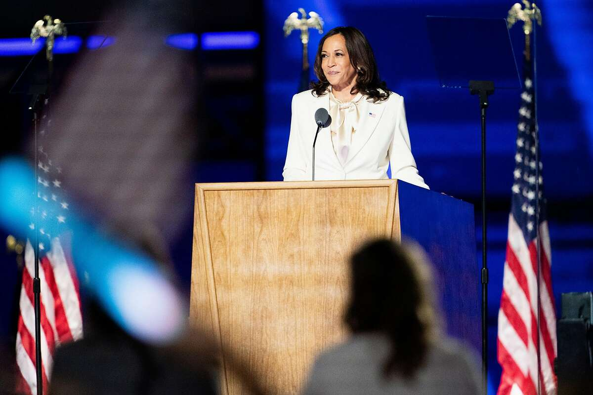 Vice President-elect Kamala Harris speaks in Wilmington, Del., on Saturday night, Nov. 7, 2020. Vice Mayor Sophie Hahn introduced a resolution to the city council on Monday to begin the process of renaming Thousand Oaks Elementary School after vice president-elect Harris.