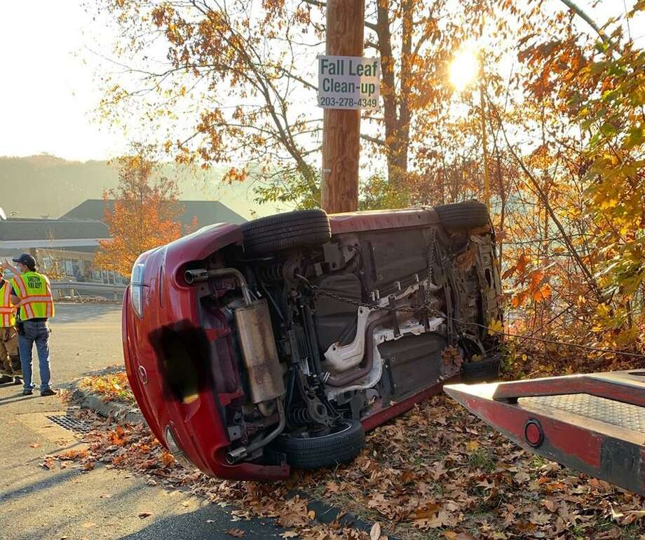 Shelton firefighters responded to a rollover accident at the intersection of Maple Avenue and Leavenworth Road about 7 a.m. Tuesday, Nov. 10. Photo: Shelton Fire Department / Contributed Photo / Connecticut Post