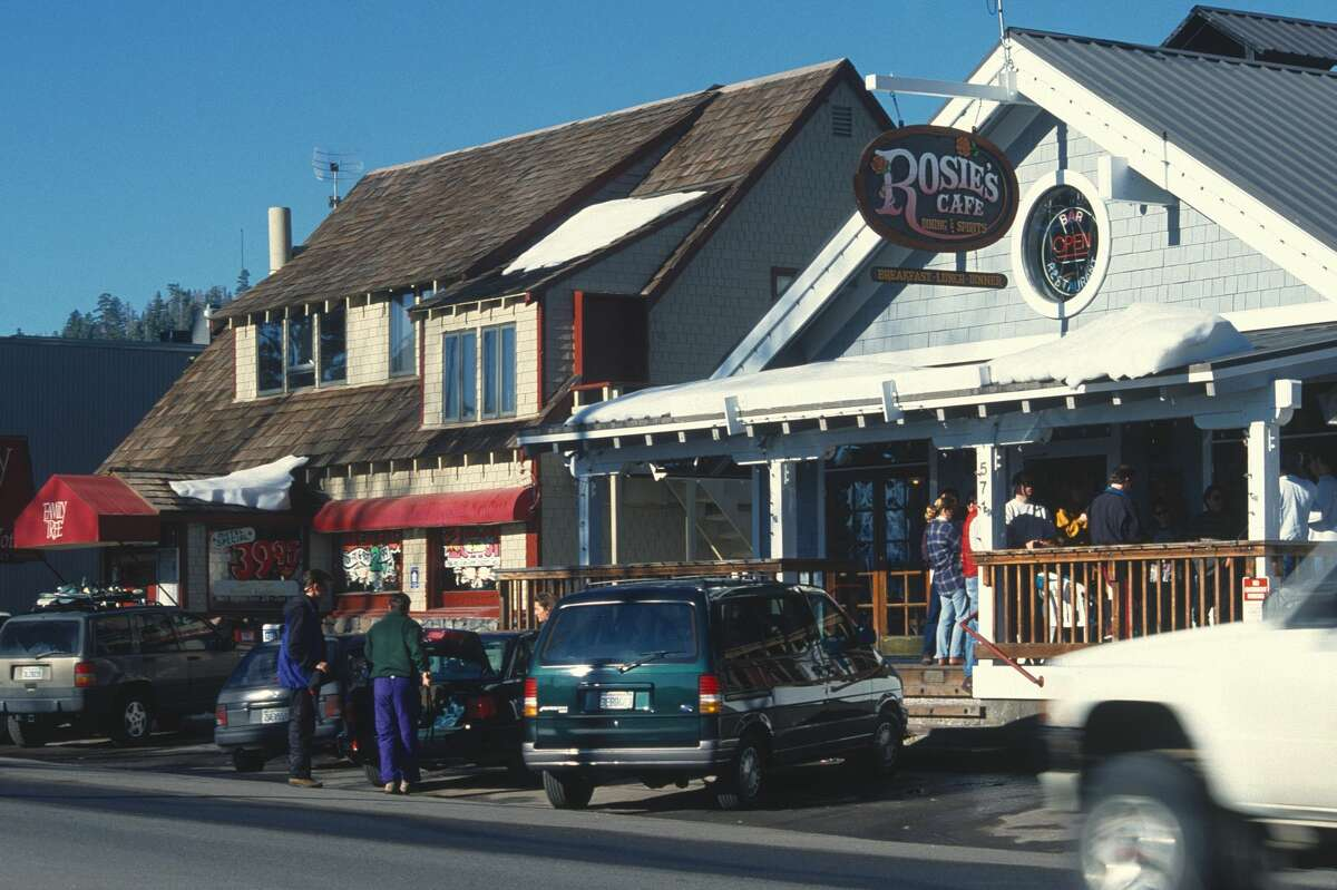 Restaurants and shops in Tahoe City, Calif.