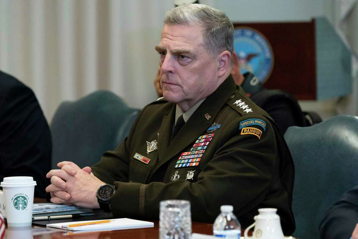 On Sept. 22, 2020, Joint Chiefs Chairman Gen. Mark Milley listens before a meeting with Secretary of Defense Mark Esper and Israeli Defense Minister Benny Gantz, at the Pentagon in Washington.