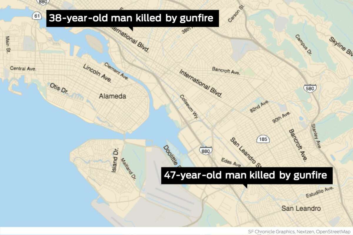 Two men were shot to death 11 minutes apart on Monday afternoon in separate incidents in East Oakland, police said, killings believed to be the 100th and 101st homicides of the year in Oakland.