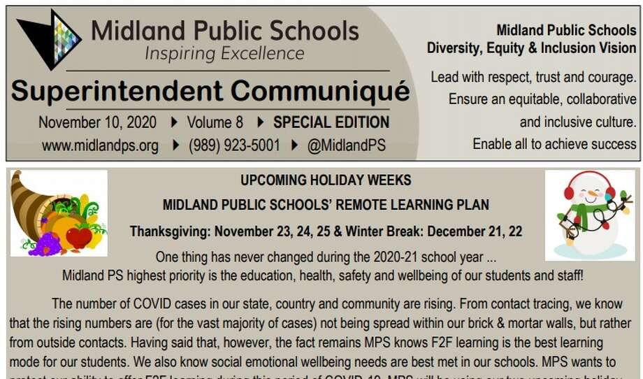 The Midland Public School District released a special edition superintendent communique on Tuesday, detailing the plan for holiday breaks. (Screen photo/MPS District) Photo: Screen Photo