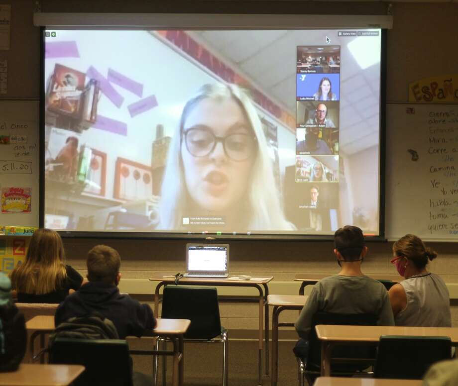 The Manistee Middle School Youth in Government program attended a YMCA Michigan virtual conference in which leadership elections were held on Nov. 5. Photo: Kyle Kotecki/News Advocate