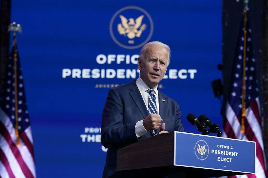 President-elect Joe Biden speaks at The Queen theater, Tuesday, Nov. 10, 2020, in Wilmington, Del. Photo: Carolyn Kaster, Associated Press
