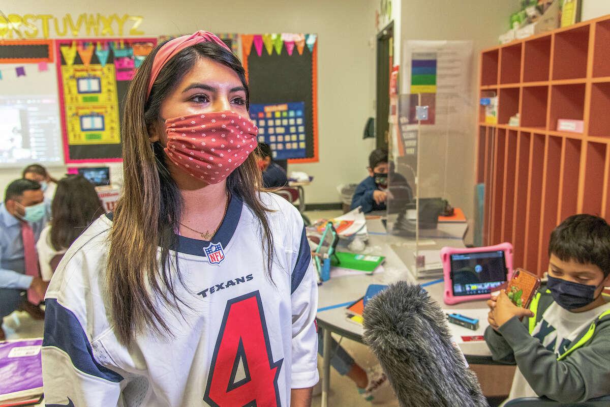 Houston ISD's Clemente Martinez Elementary School third-grade teacher Wendy Martinez-Morales after Texans quarterback Deshaun Watson surprised her class on Tuesday, Nov. 10, 2020.