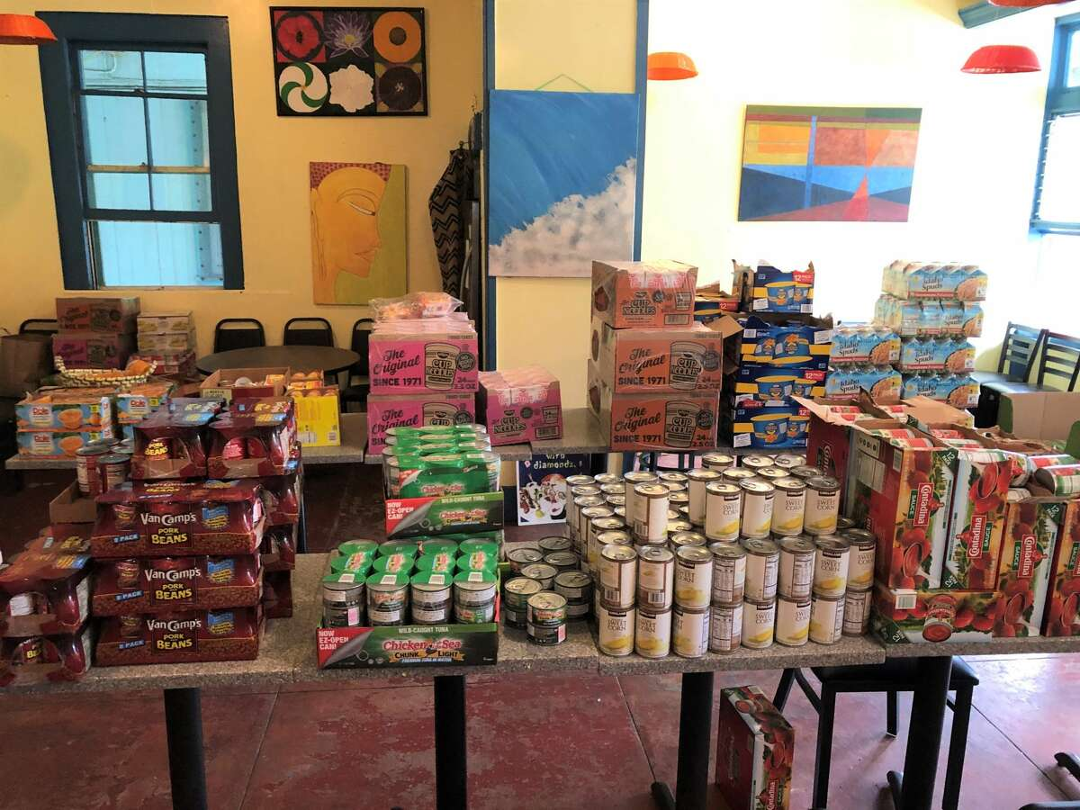 Supplies are readied for Kohala Cares' weekly food drive.