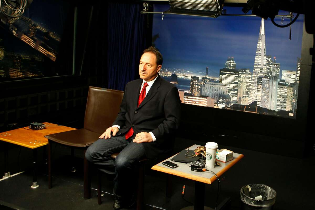 Dan Horowitz, a celebrity lawyer who appears on a variety of television news programs, sits in front of the cameras at Beyond Pix Studios in San Francisco waiting to appear on the Nancy Grace program. Friday Feb 18 2011.