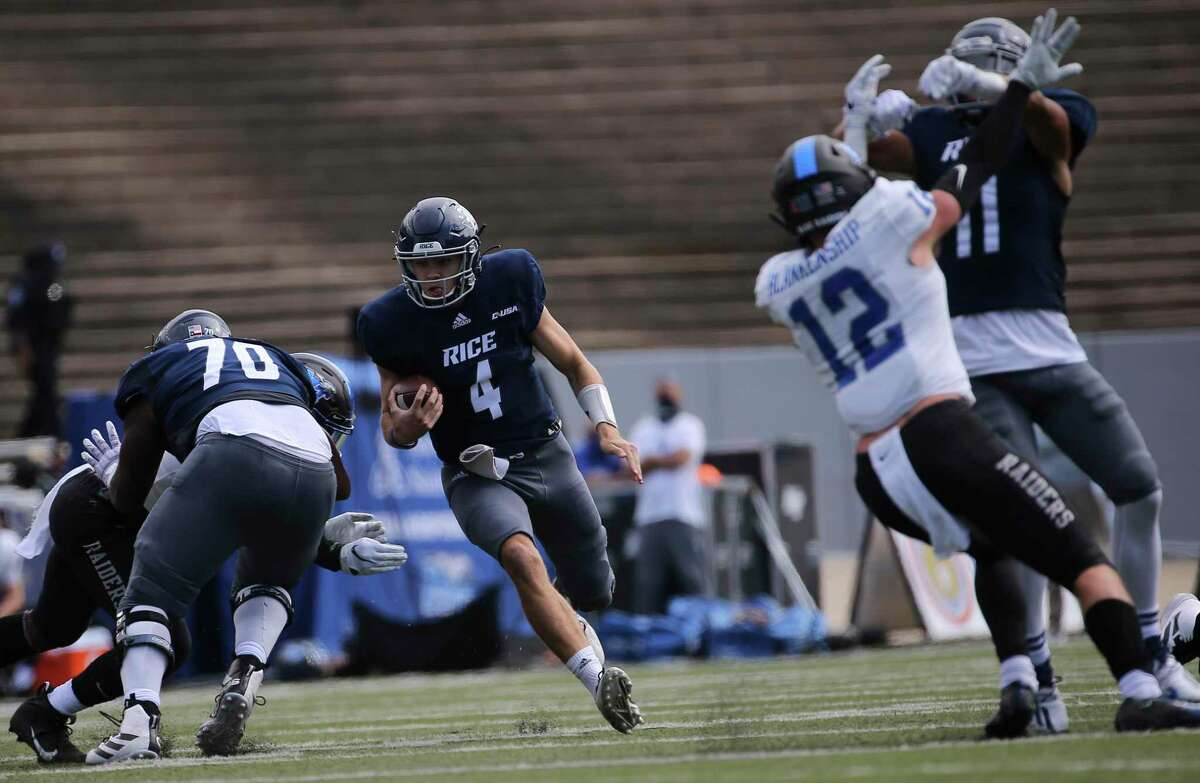 Rice quarterback Mike Collins, running against Middle Tennessee in the opener, has given the Owls stability at the position.