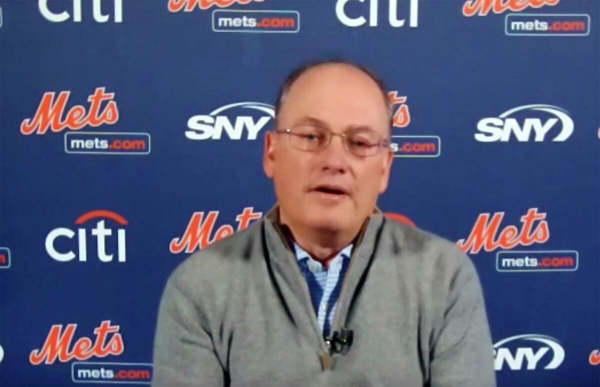 This photo from a Zoom press conference provided by the New York Mets shows New York Mets owner Steve Cohen in November.