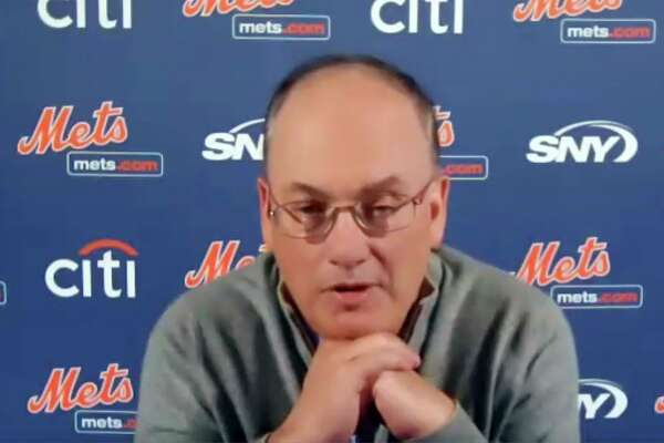 This photo from a Zoom press conference shows New York Mets owner Steve Cohen on Nov. 10.