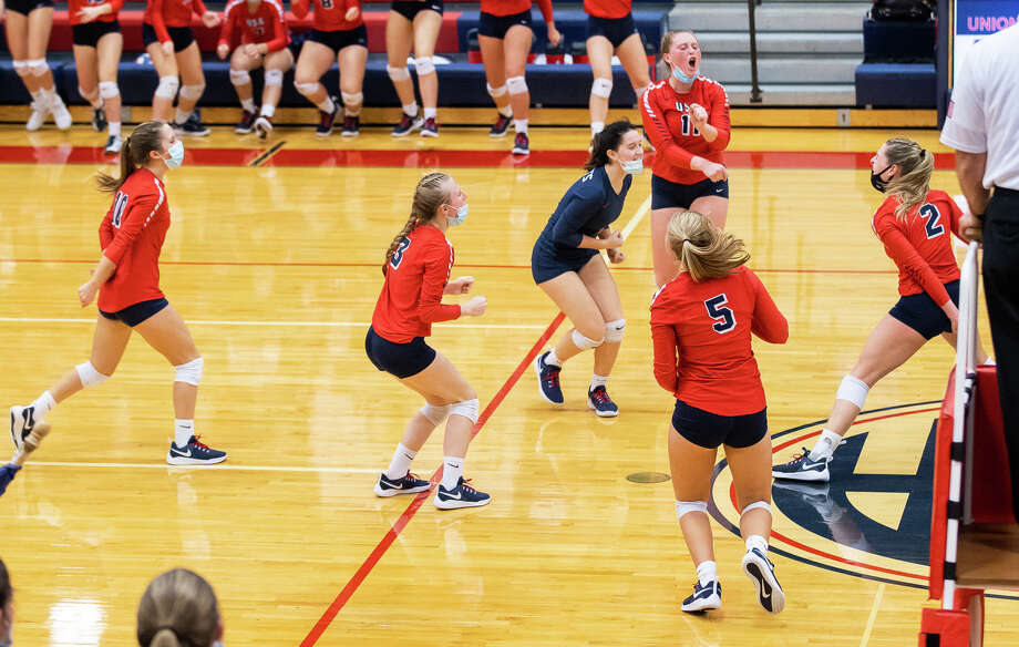 The Unionville-Sebewaing Area varsity volleyball team's postseaon run came to an end on Tuesday night as the Patriots fell at home in three sets to Saginaw Valley Lutheran. Photo: Kaitlin's Klicks, Kaitlin Gunsell, Kaitlin's Klicks/For The Tribune / Kaitlin's Klicks