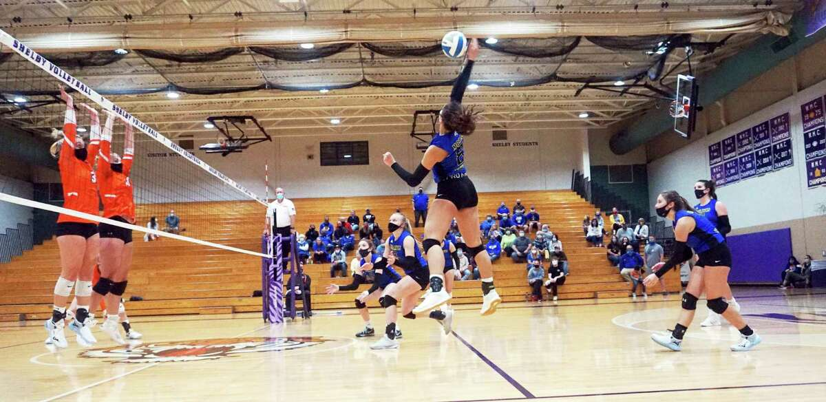 Morley Stanwood junior Braelyn Berry smacks the ball over the net during the Mohawks' victory over White Cloud in the Semifinal match of the Region 19 Tournament on Tuesday night in Shelby. (Pioneer photo/Joe Judd)