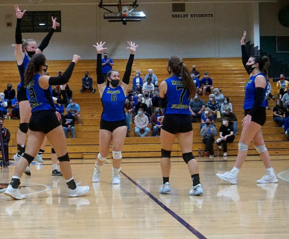 Morley Stanwood's volleyball team will play for the Regional title after defeating White Cloud on Tuesday night. Photo: Pioneer Photos/Joe Judd