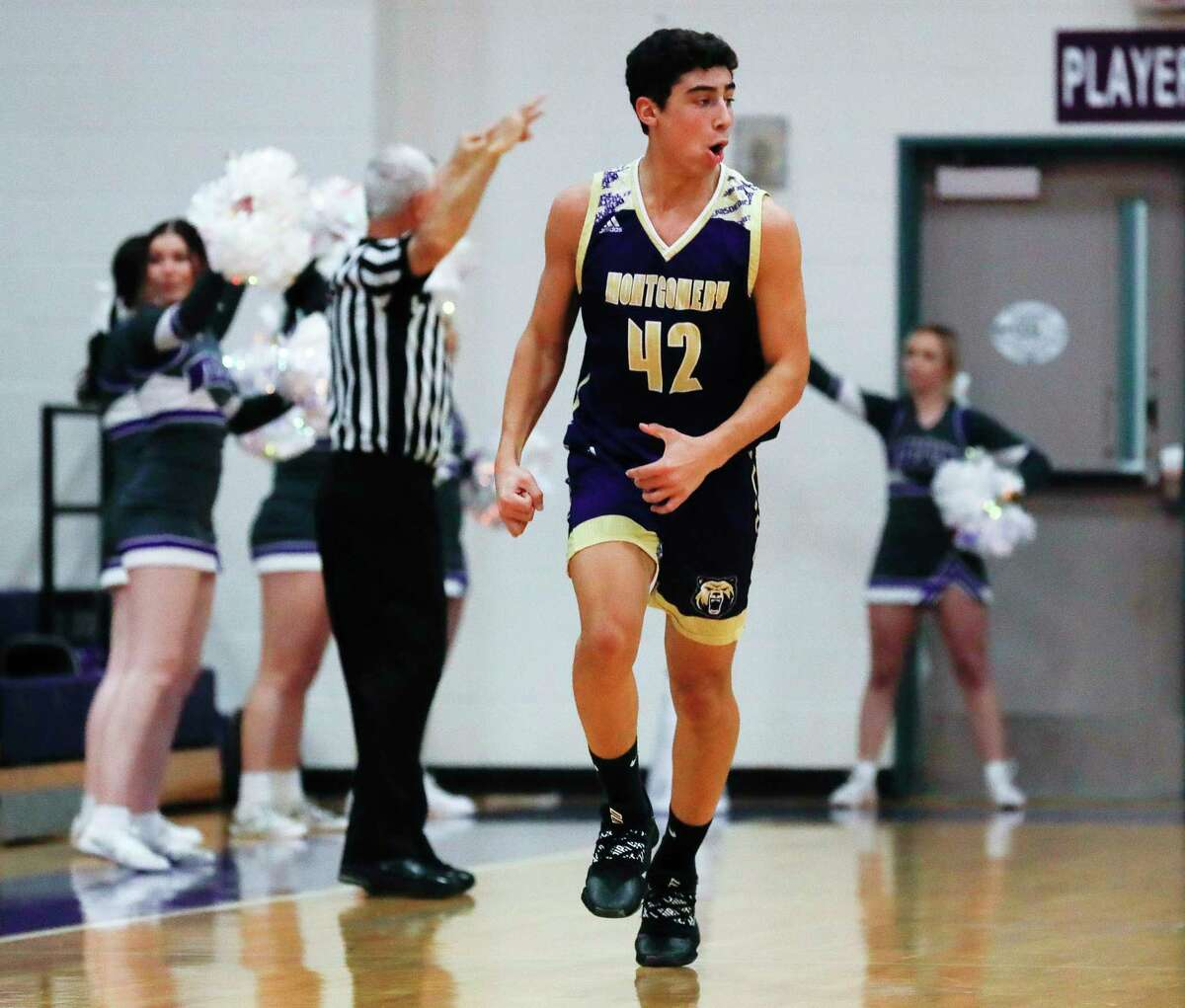 Montgomery forward Mateo Moreno (42) returns to his post position in 2020-21.