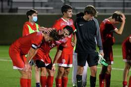 Fairfield Prep players react after their 1-0 loss to Fairfield Ludlowe in the FCIAC East boys soccer championship on Tuesday.