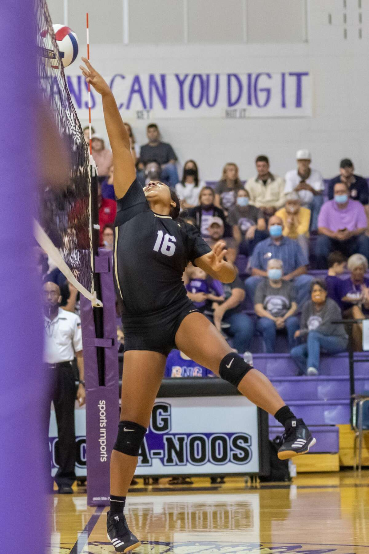 Nederland's Sydney Nelson (16) slips one over the net in the first set. Nederland and Port Neches-Groves volleyball squared off in a Mid-County Match-up on Tuesday night. Photo made on November 10, 2020. Fran Ruchalski/The Enterprise