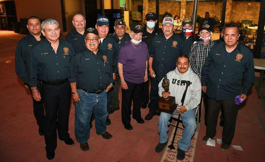 American Legion Post 59 recognized honor guard commander Ruben Contreras with an award Tuesday, Nov. 10 they also celebrated the 245th birthday of the U.S. Marine Corps. Photo: Danny Zaragoza / Laredo Morning Times