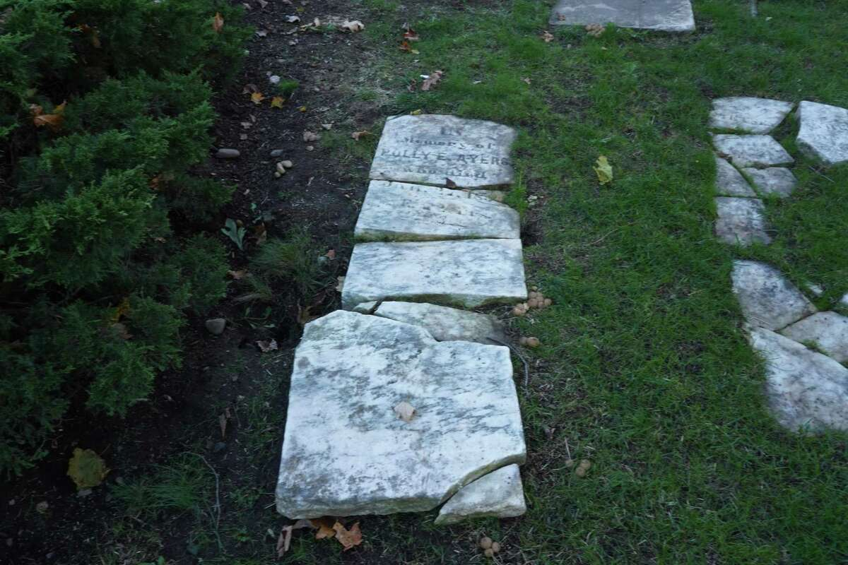 An easement between between Mead and Maple Streets does not include a spur to an ancient cemetery in New Canaan, where at least 20 antique gravestones can be seen and remains of well-known New Canaan ancestors lie.
