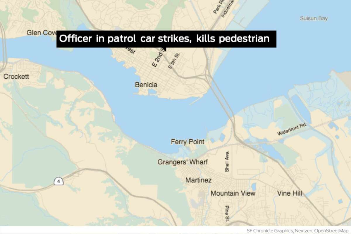 An on-duty Benicia police officer struck and killed a pedestrian with his patrol car early Wednesday morning while driving down the 1900 block of East Seco2nd street in Benicia.
