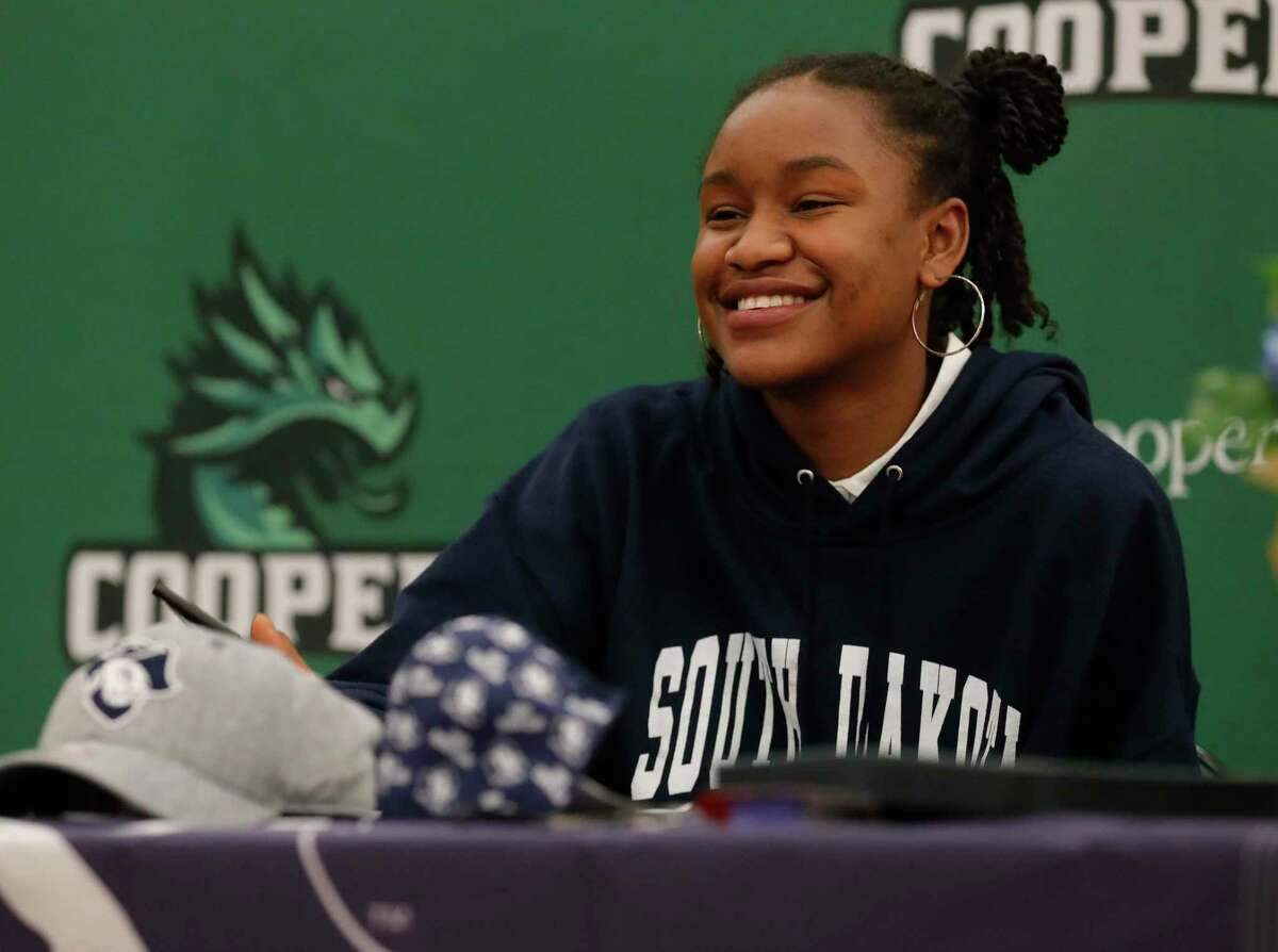 A.J. Harrell signed to play volleyball for South Dakota School of Mines during a national signing day ceremony at The John Cooper School, Wednesday, Nov. 11, 2020, in The Woodlands.