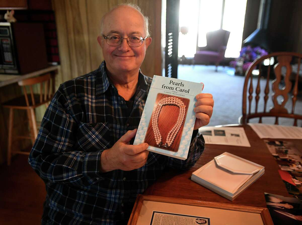 """Albert Ruggiero, of Milford, recently published a book of his late wife's writings, """"Pearls from Carole"""", a collection of whimsical, autobiographical short stories, in Milford on Wednesday. Carol Ruggiero passed away in March of this year."""