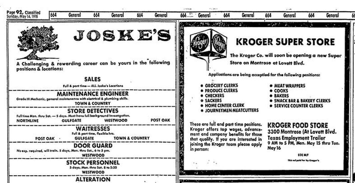 A 1978 ad for Kroger in the Houston Chronicle.