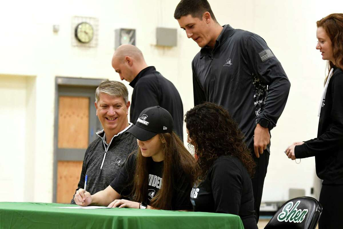 Shenendehowa basketball player Meghan Huerter signs a letter of intent with Providence College during a ceremony on Wednesday, Nov. 11, 2020, at Shenendehowa High School, in Clifton Park, N.Y. (Will Waldron/Times Union)