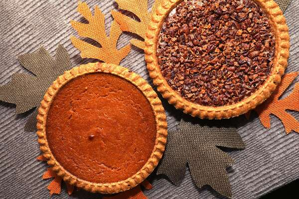 A sweet potato pie (left) and a pecan pie (right) seen at Yvonne's Southern Sweets on Tuesday, Nov. 10, 2020, in San Francisco, Calif.
