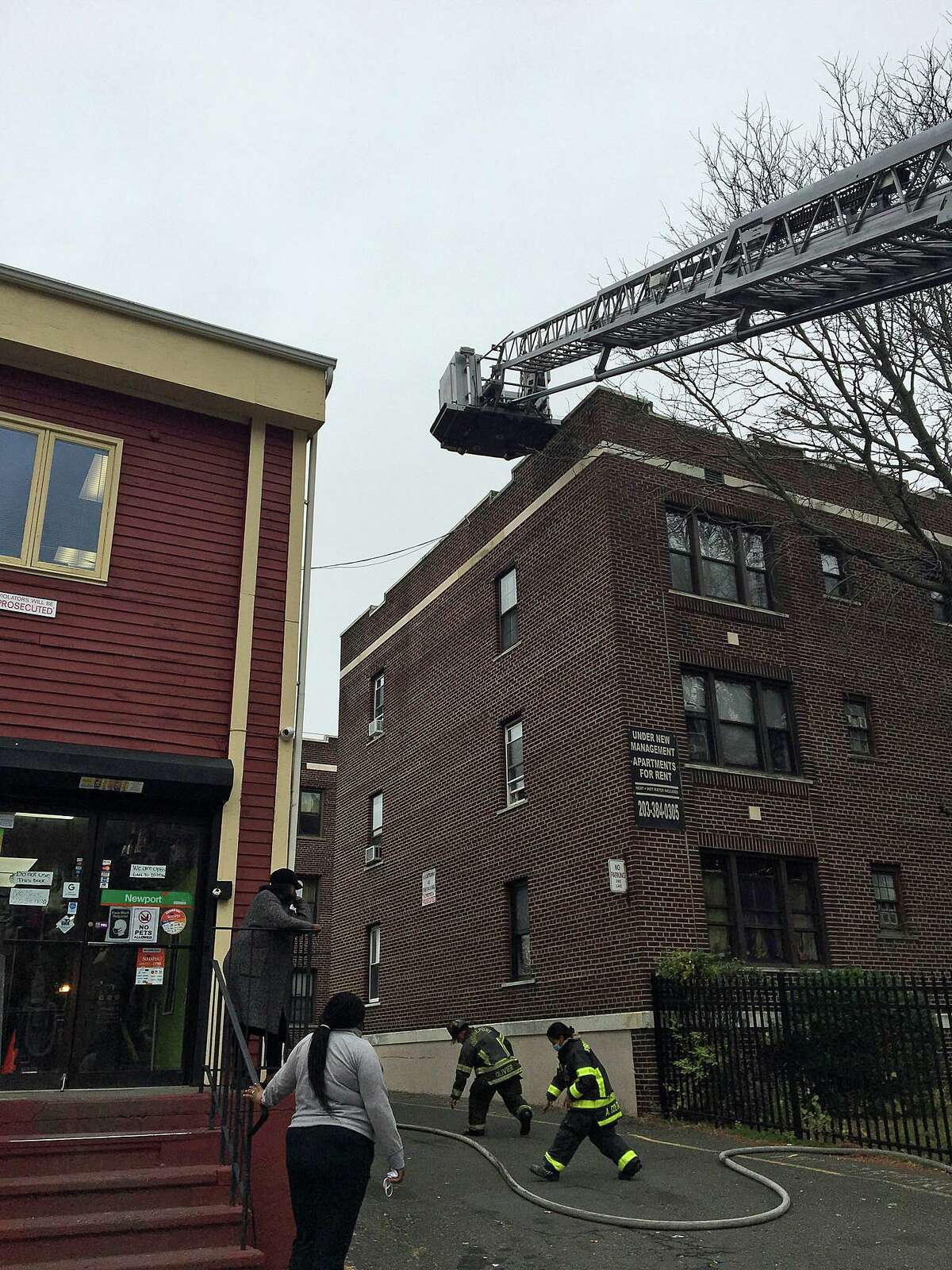 City firefighters battled a blaze in a Bridgeport Gardens apartment through apparent hoarding conditions Wednesday morning on Nov. 11, 2020, according to fire officials on scene. A cat was rescued from the building and given oxygen by firefighters. Two other cats perished in the blaze.