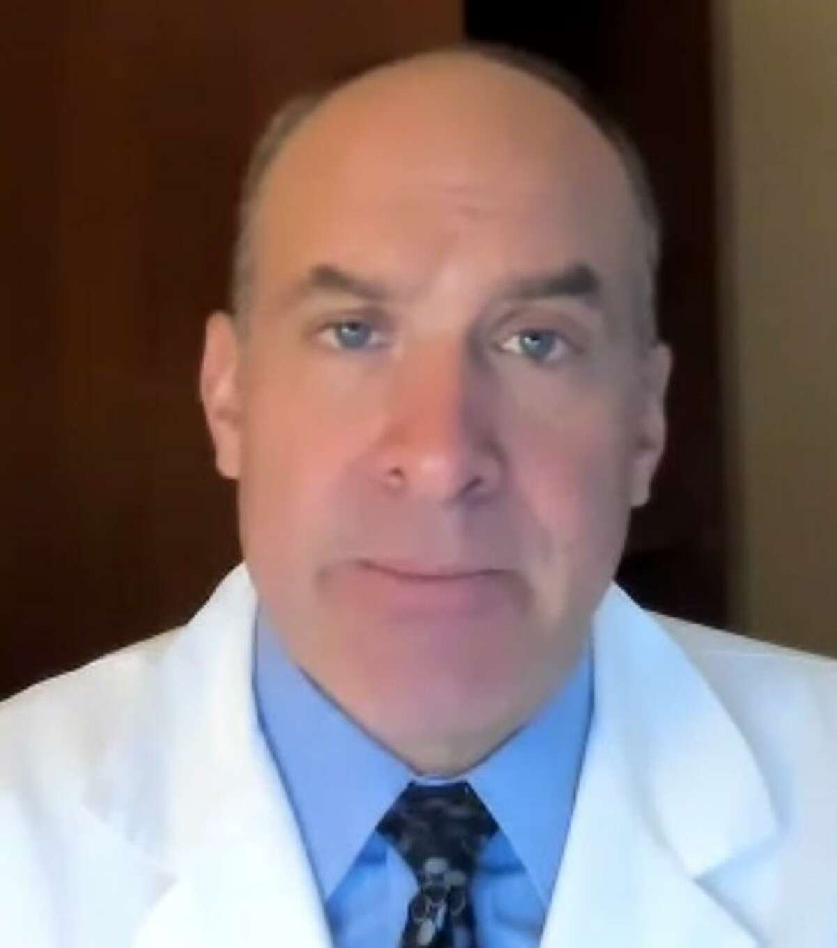 Dr. Thomas Balcezak, chief clinical officer for Yale New Haven Health, speaks during an online press conference Nov. 11.