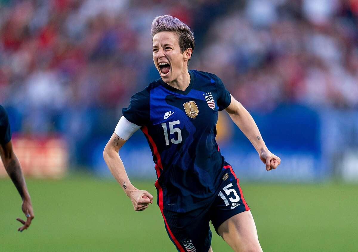 Megan Rapinoe, shown in the SheBelieves Cup in Frisco, Texas, in March, is a two-time World Cup champ with the U.S. and hopes to win her second Olympic gold medal this summer.