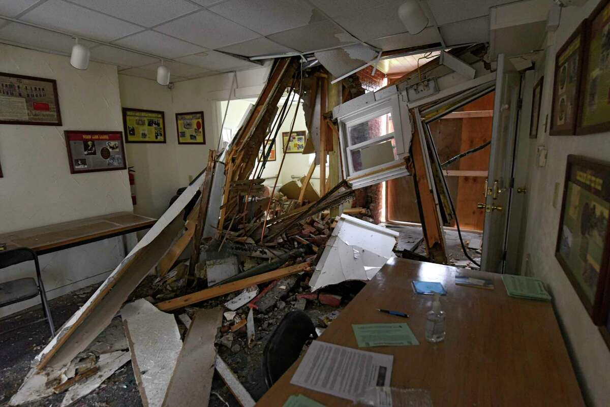 Interior of the Kate Mullany National Historic Site house which was badly damaged Tuesday afternoon when an SUV crashed through the rear of the building and rolled into the structure on Wednesday, Nov. 11, 2020 in Troy, N.Y. (Lori Van Buren/Times Union)