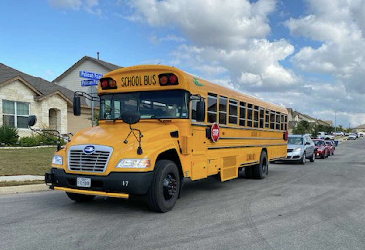 A Southside ISD school bus carries administrators, teachers, custodians, and child nutrition workers throughout the district as part of the district's campaign to reward, retain, and recruit students.